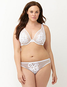 Lace applique plunge bra