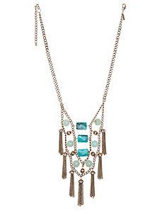 Fringe & stone bib necklace