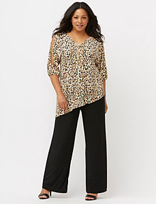 Simply Chic animal print cold shoulder top