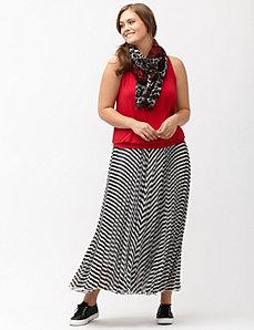 Pleated chevron maxi skirt