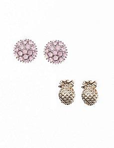 Pineapple & dome earring duo