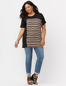 Striped inset tunic