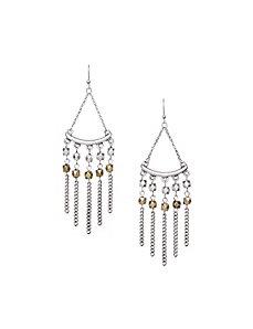Triangle fringe drop earrings