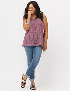 High low mixed stripe tank