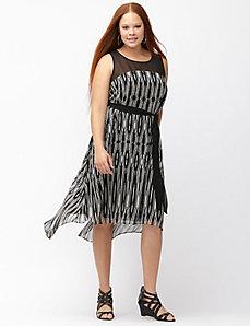 Printed split back dress