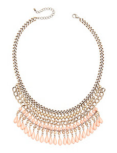 Coral bead bib necklace