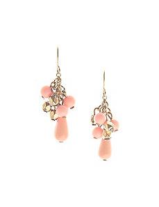 Coral bead drop earrings