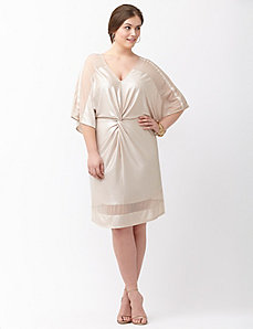 Twist front foiled kimono dress by ABS by Allen Schwartz