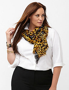 Ocelot print oblong scarf