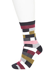 Colorblock & stripe crew socks 2-pack