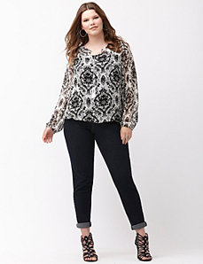 Printed tie-neck peasant top