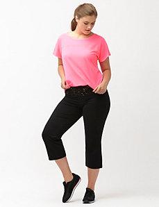 Signature Stretch yoga capri with printed waist