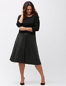 Metallic houndstooth ponte circle skirt