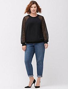 Embellished chiffon sweatshirt