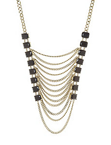 Stone & chain statement necklace