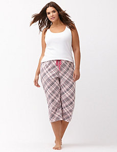 Plaid cropped sleep pant