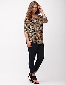 Leopard zip shoulder wedge top