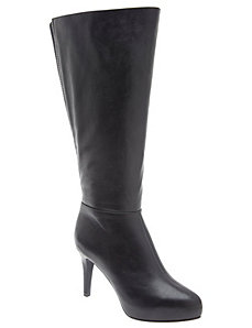 Zip back platform heeled boot