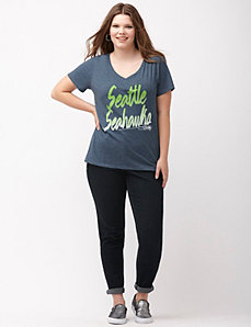 Seattle Seahawks glittered V-neck tee