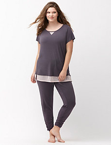 Mesh inset sleep tee