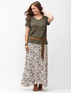 Leaf print maxi skirt