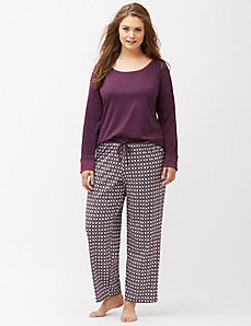 Medallion print knit sleep pant