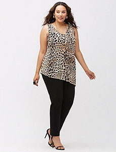 Animal print asymmetric tank