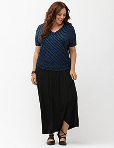 Simply Chic matte jersey faux wrap maxi skirt