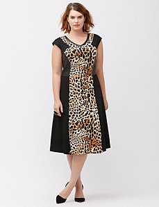 Leopard inset dress