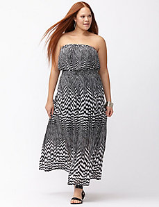 Chevron pleated maxi dress