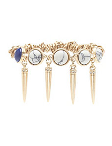Spike & stone stretch bracelet