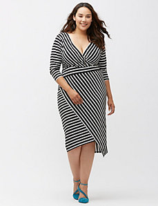 Simply Chic matte Jersey bias stripe dress