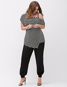 Simply Chic matte Jersey striped one shoulder top