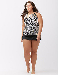 Palm print high neck swim tank