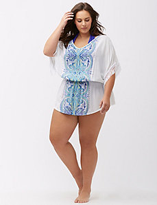 Fringed paisley swim cover-up
