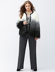 Dip-dye faux fur jacket
