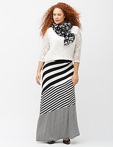 Diagonal mixed stripe maxi skirt
