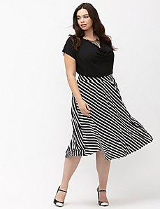 Simply Chic matte Jersey striped circle skirt