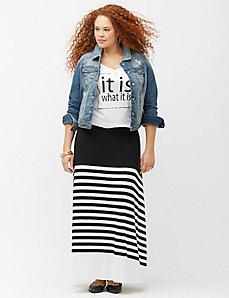Colorblock stripe maxi skirt