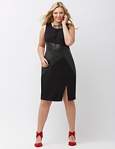 Sheath dress with faux leather waist