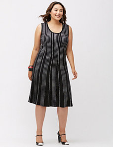 Dotted sleeveless sweater dress