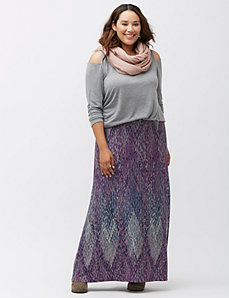 Diamond print maxi skirt