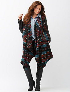 Aztec blanket coat with faux leather sleeves