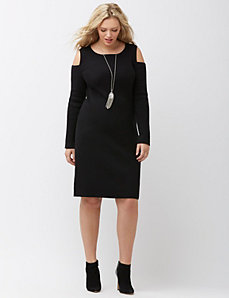 Ribbed cold shoulder dress by DKNY JEANS