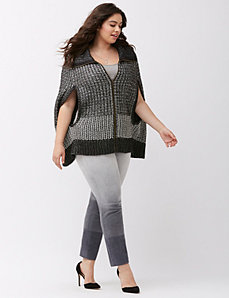 Yarn mix zipped cape by DKNY JEANS