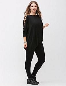 6th & Lane asymmetric lace up top