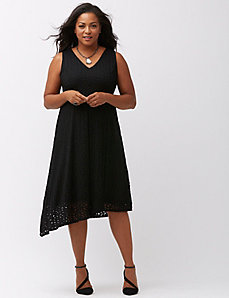 Lace dress with asymmetric hem