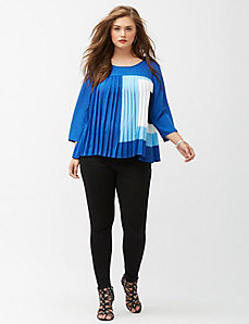Square print pleated top