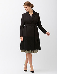 Lace trim coat by Lela Rose