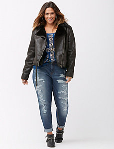 Belted shearling moto jacket